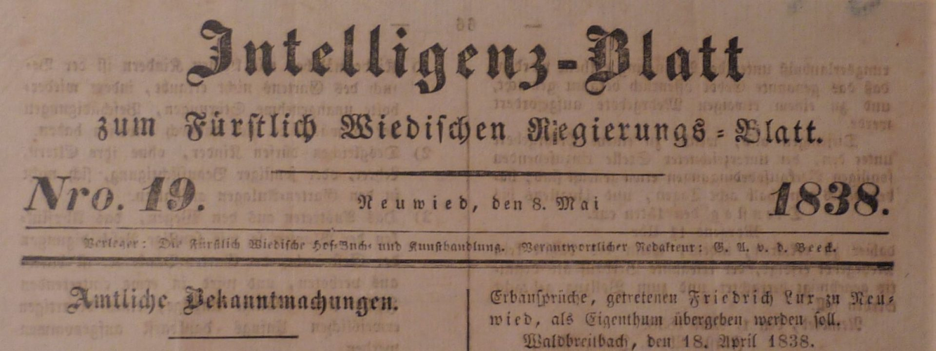 Titel Intelligenzblatt